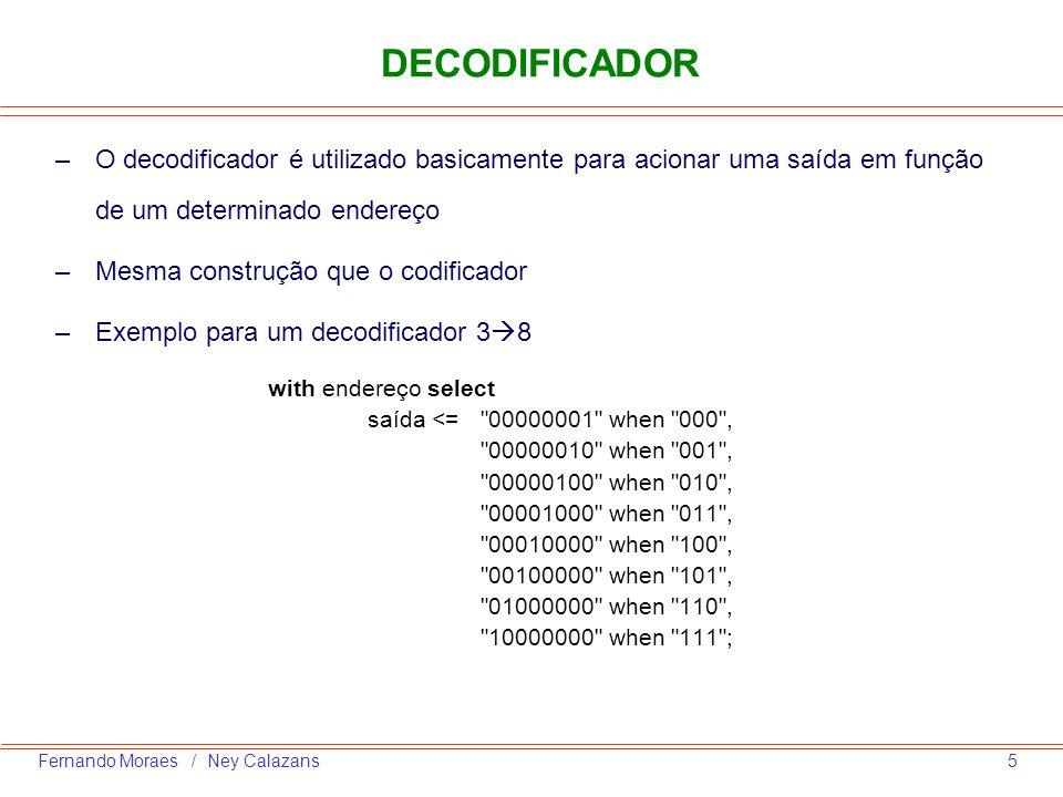 5Fernando Moraes / Ney Calazans DECODIFICADOR –O decodificador é utilizado basicamente para acionar uma saída em função de um determinado endereço –Me