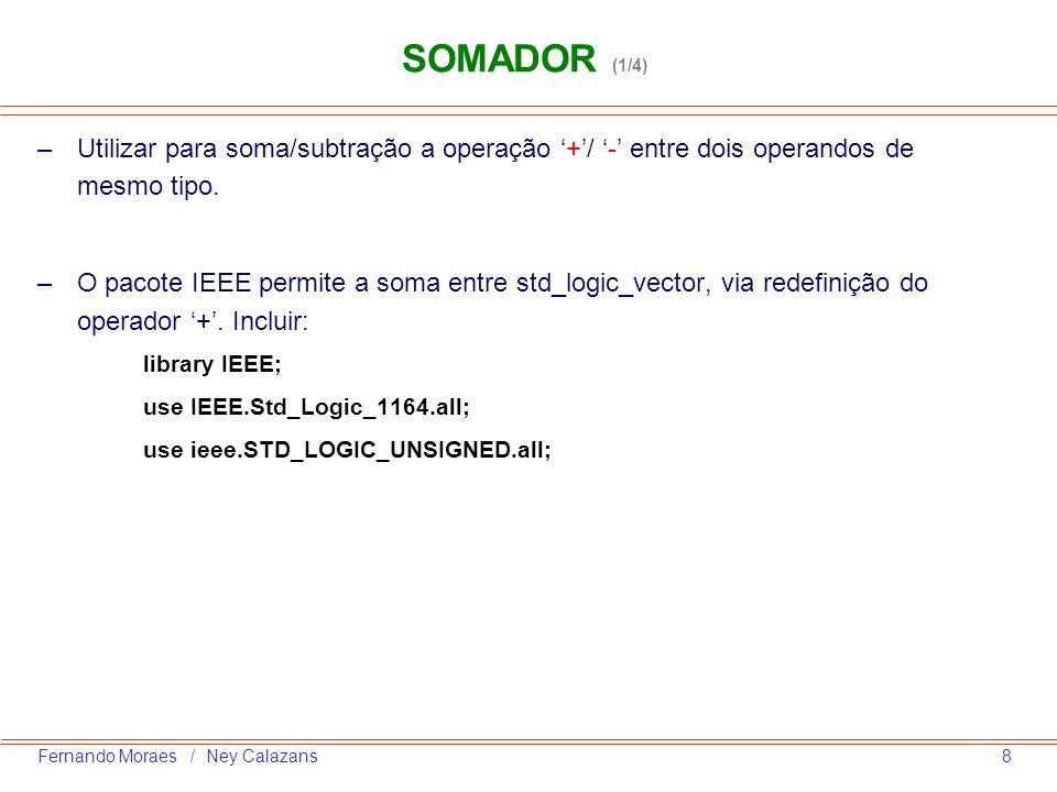8Fernando Moraes / Ney Calazans SOMADOR (1/4) –Utilizar para soma/subtração a operação +/ - entre dois operandos de mesmo tipo. –O pacote IEEE permite