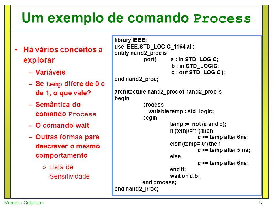 10 Moraes / Calazans Um exemplo de comando Process Há vários conceitos a explorar –Variáveis –Se temp difere de 0 e de 1, o que vale? –Semântica do co