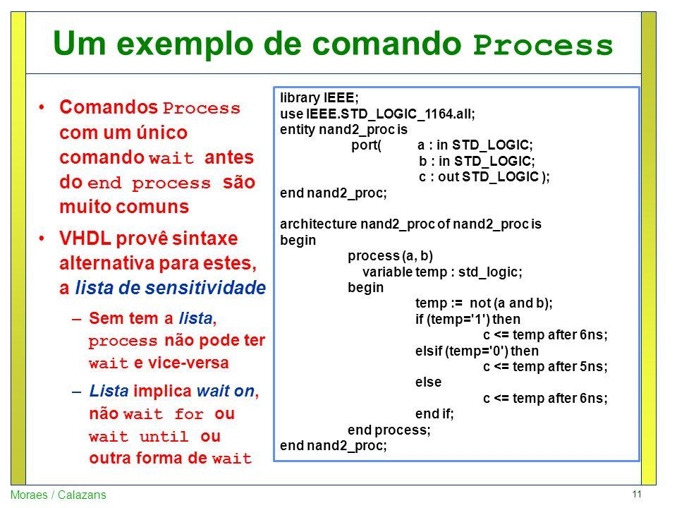 11 Moraes / Calazans Um exemplo de comando Process Comandos Process com um único comando wait antes do end process são muito comuns VHDL provê sintaxe