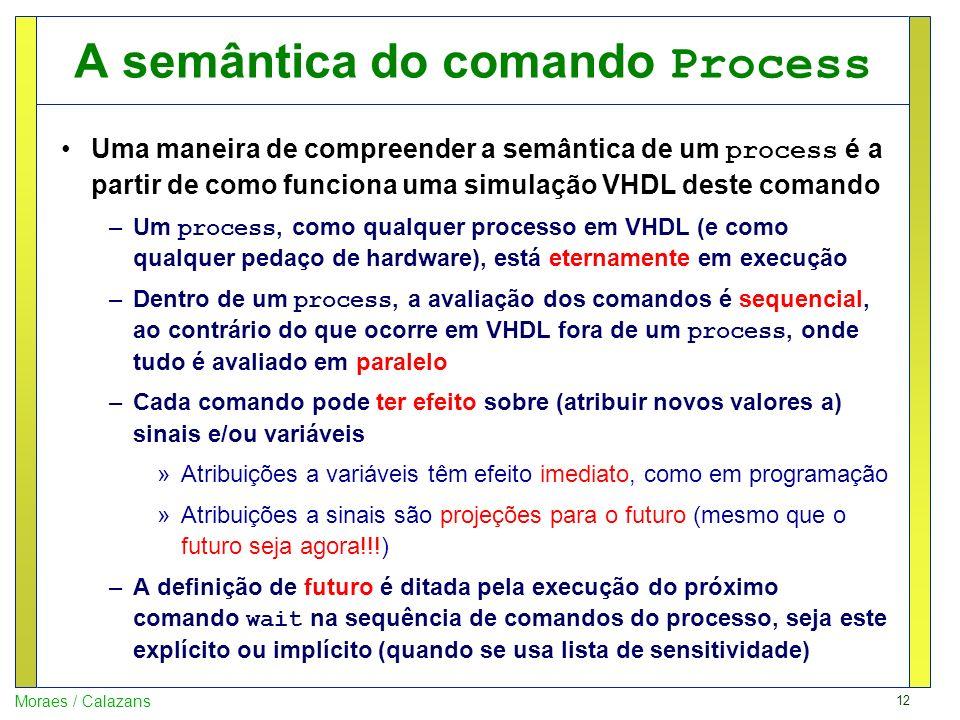 12 Moraes / Calazans A semântica do comando Process Uma maneira de compreender a semântica de um process é a partir de como funciona uma simulação VHD