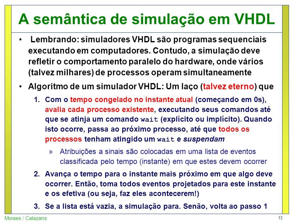 13 Moraes / Calazans A semântica de simulação em VHDL Lembrando: simuladores VHDL são programas sequenciais executando em computadores. Contudo, a sim