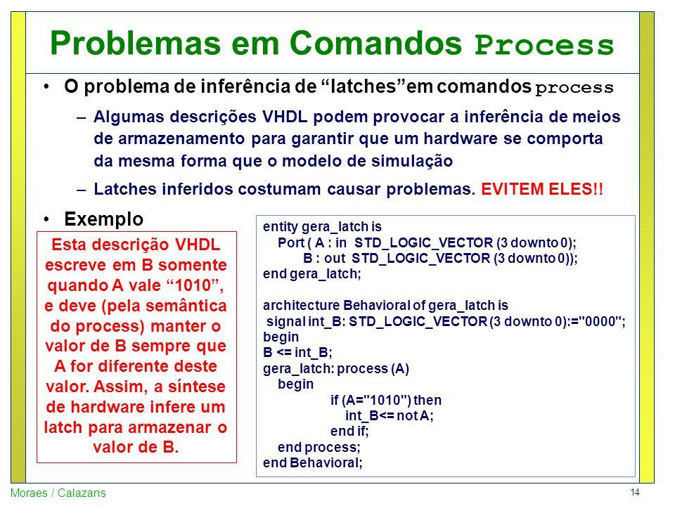 14 Moraes / Calazans Problemas em Comandos Process O problema de inferência de latchesem comandos process –Algumas descrições VHDL podem provocar a in