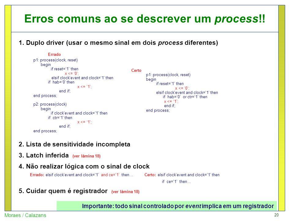 20 Moraes / Calazans Erros comuns ao se descrever um process!! 1. Duplo driver (usar o mesmo sinal em dois process diferentes) Errado p1: process(cloc