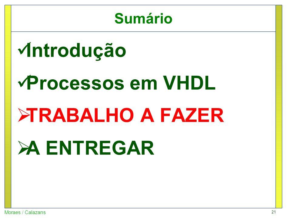 21 Moraes / Calazans Sumário Introdução Processos em VHDL TRABALHO A FAZER A ENTREGAR