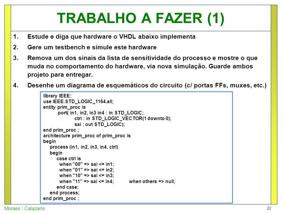 22 Moraes / Calazans TRABALHO A FAZER (1) 1.Estude e diga que hardware o VHDL abaixo implementa 2.Gere um testbench e simule este hardware 3.Remova um
