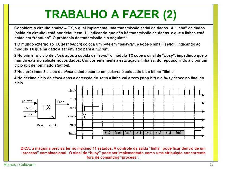 23 Moraes / Calazans TRABALHO A FAZER (2) Considere o circuito abaixo – TX, o qual implementa uma transmissão serial de dados. A linha de dados (saída
