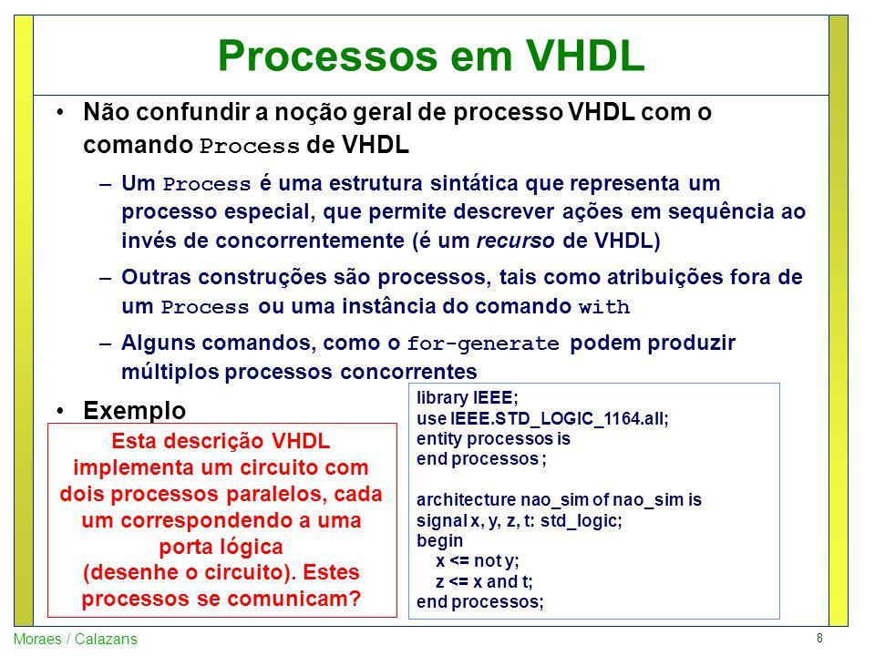 9 Moraes / Calazans O comando Process em VHDL O comando Process é uma construção em VHDL que serve para, entre outras utilidades 1.Descrever comportamento de um hardware de maneira sequencial, o que é complexo de realizar fora deste comando 2.Descrever hardware combinacional ou sequencial 3.Prover uma maneira natural de descrever estruturas mais abstratas de hardware tais como máquinas de estados finitas Cada comando Process corresponde a exatamente um processo (paralelo) VHDL A semântica do comando Process é complexa para quem não domina bem os modelos de funcionamento de hardware em geral, e de hardware síncrono em particular