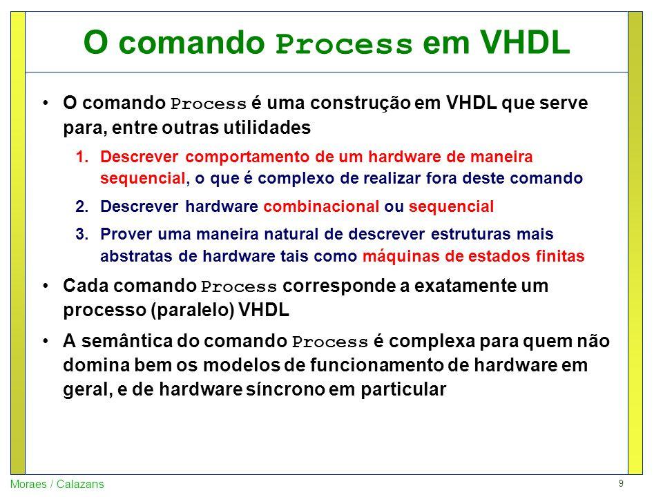 9 Moraes / Calazans O comando Process em VHDL O comando Process é uma construção em VHDL que serve para, entre outras utilidades 1.Descrever comportam