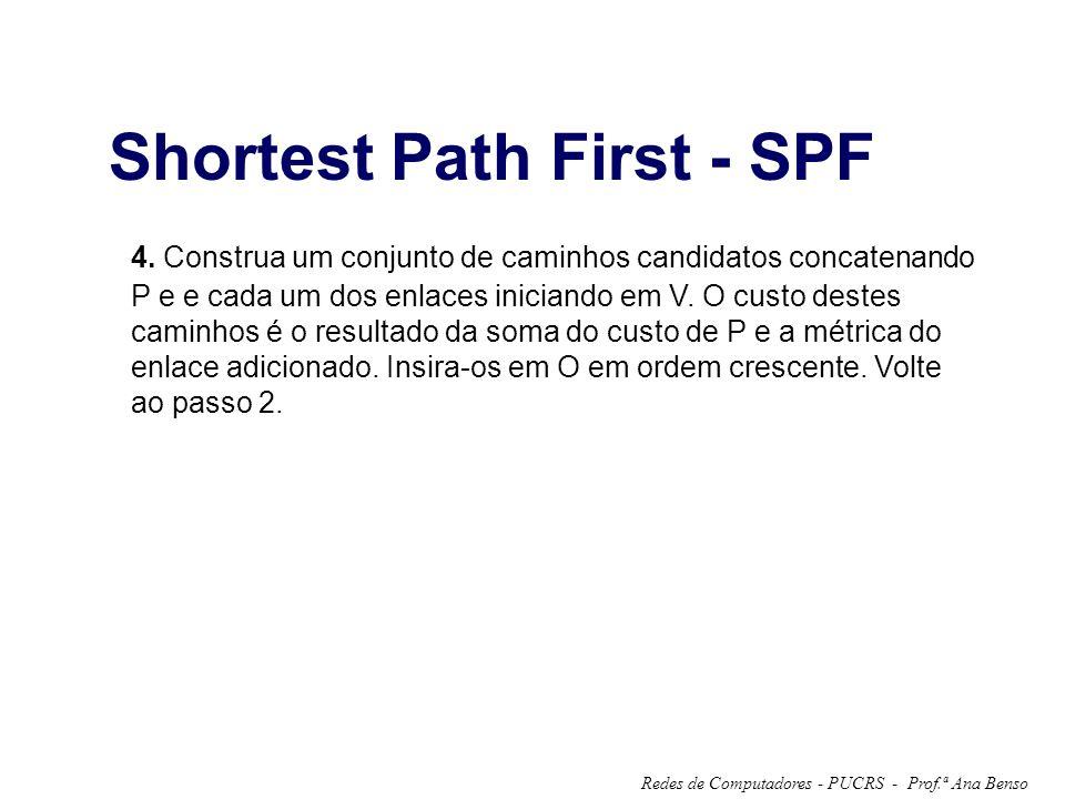 Prof.ª Ana BensoRedes de Computadores - PUCRS - Shortest Path First - SPF 4. Construa um conjunto de caminhos candidatos concatenando P e e cada um do