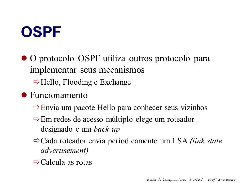 Prof.ª Ana BensoRedes de Computadores - PUCRS - OSPF O protocolo OSPF utiliza outros protocolo para implementar seus mecanismos Hello, Flooding e Exch