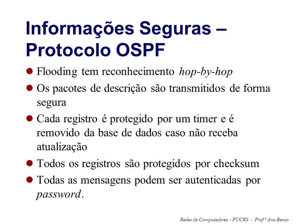 Prof.ª Ana BensoRedes de Computadores - PUCRS - Informações Seguras – Protocolo OSPF Flooding tem reconhecimento hop-by-hop Os pacotes de descrição sã