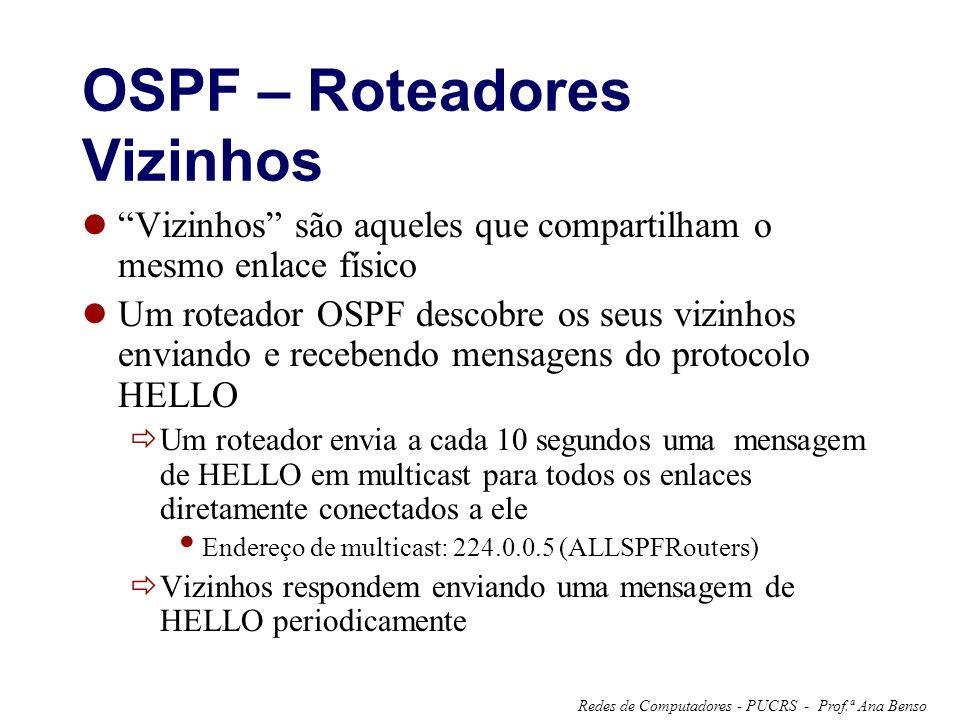 Prof.ª Ana BensoRedes de Computadores - PUCRS - OSPF – Roteadores Vizinhos Vizinhos são aqueles que compartilham o mesmo enlace físico Um roteador OSPF descobre os seus vizinhos enviando e recebendo mensagens do protocolo HELLO Um roteador envia a cada 10 segundos uma mensagem de HELLO em multicast para todos os enlaces diretamente conectados a ele Endereço de multicast: 224.0.0.5 (ALLSPFRouters) Vizinhos respondem enviando uma mensagem de HELLO periodicamente