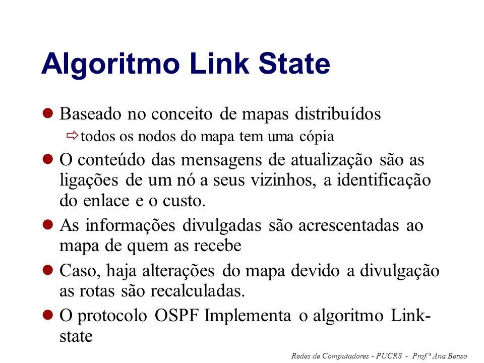 Prof.ª Ana BensoRedes de Computadores - PUCRS - Algoritmo Link State Baseado no conceito de mapas distribuídos todos os nodos do mapa tem uma cópia O conteúdo das mensagens de atualização são as ligações de um nó a seus vizinhos, a identificação do enlace e o custo.