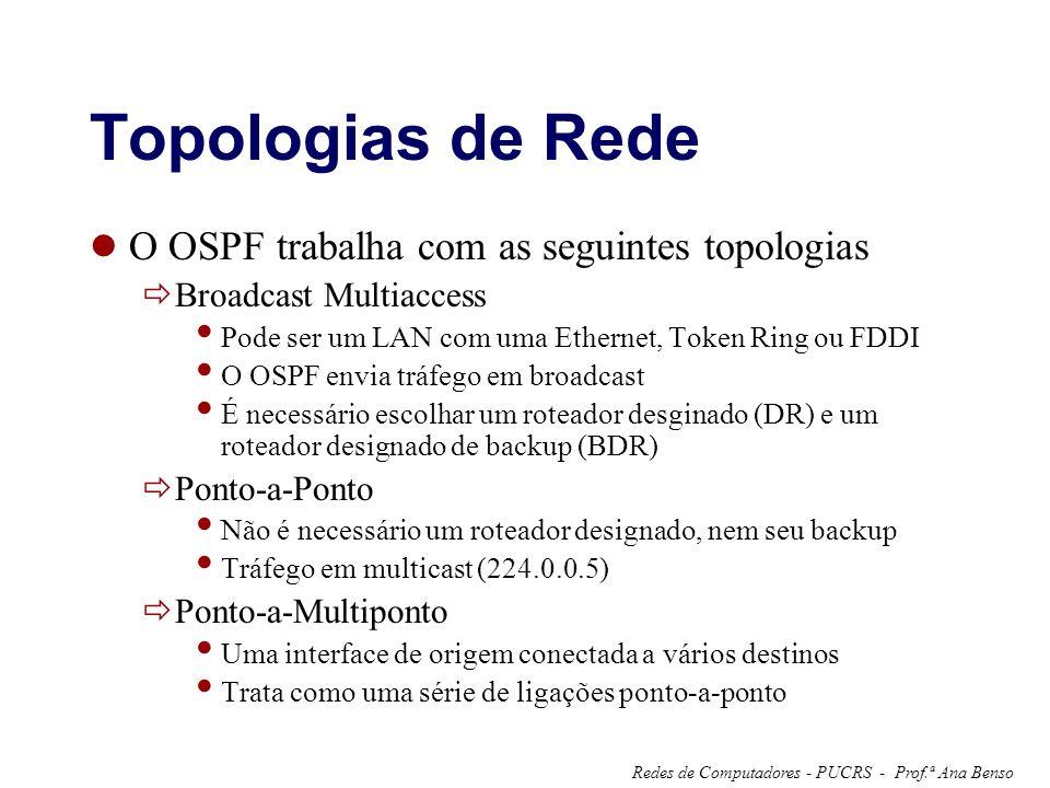 Prof.ª Ana BensoRedes de Computadores - PUCRS - Topologias de Rede O OSPF trabalha com as seguintes topologias Broadcast Multiaccess Pode ser um LAN com uma Ethernet, Token Ring ou FDDI O OSPF envia tráfego em broadcast É necessário escolhar um roteador desginado (DR) e um roteador designado de backup (BDR) Ponto-a-Ponto Não é necessário um roteador designado, nem seu backup Tráfego em multicast (224.0.0.5) Ponto-a-Multiponto Uma interface de origem conectada a vários destinos Trata como uma série de ligações ponto-a-ponto
