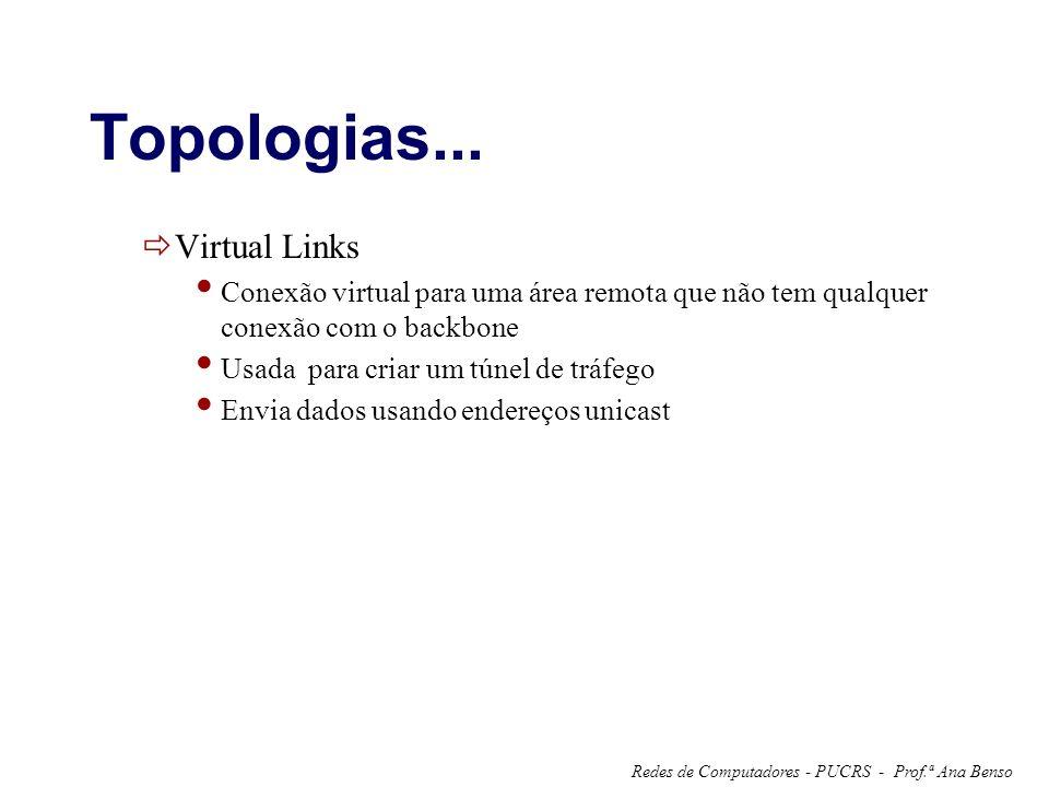 Prof.ª Ana BensoRedes de Computadores - PUCRS - Topologias... Virtual Links Conexão virtual para uma área remota que não tem qualquer conexão com o ba