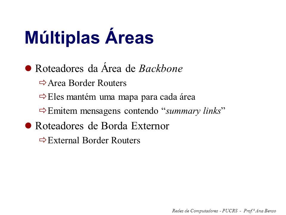 Prof.ª Ana BensoRedes de Computadores - PUCRS - Múltiplas Áreas Roteadores da Área de Backbone Area Border Routers Eles mantém uma mapa para cada área Emitem mensagens contendo summary links Roteadores de Borda Externor External Border Routers