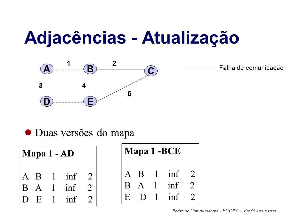 Prof.ª Ana BensoRedes de Computadores - PUCRS - Adjacências - Atualização Duas versões do mapa A 12 34 5 B C DE Falha de comunicação Mapa 1 - AD A B 1 inf 2 B A 1 inf 2 D E 1 inf 2 Mapa 1 -BCE A B 1 inf 2 B A 1 inf 2 E D 1 inf 2