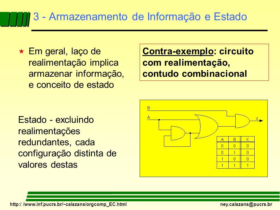 http:/ /www.inf.pucrs.br/~calazans/orgcomp_EC.html ney.calazans@pucrs.br 3 - Armazenamento de Informação e Estado « Em geral, laço de realimentação im