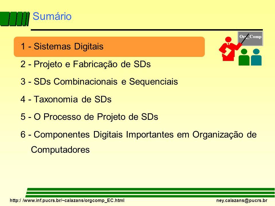 http:/ /www.inf.pucrs.br/~calazans/orgcomp_EC.html ney.calazans@pucrs.br 1 - Sistemas Digitais – Definição Estrutural Sistema Digital Processamento Numérico de Informação EntradasSaídas E(1) C(1) E(2) E(K-2) E(K) E(K-1) S(1)C(K+1) S(2) S(3) S(L) S(L-1) C(2) C(K-2) C(K-1) C(K) C(K+2) C(K+3) C(K+L-1) C(K+L) Sistema Digital – Um Aparato dotado de conjuntos finitos de entradas e saídas e capaz de processar informação representada sob forma numérica.