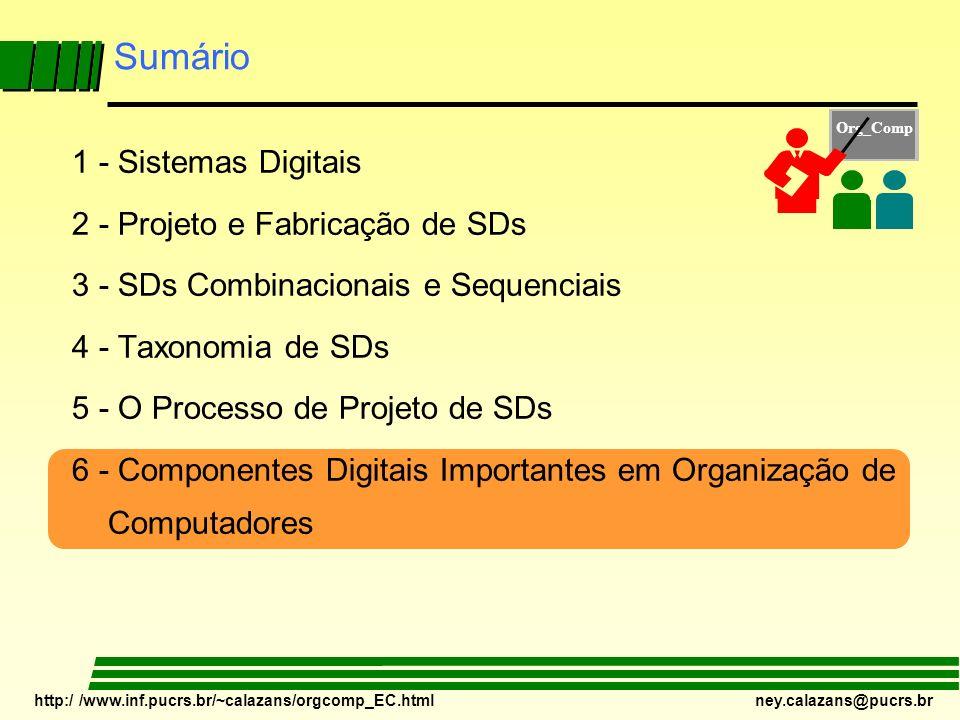 http:/ /www.inf.pucrs.br/~calazans/orgcomp_EC.html ney.calazans@pucrs.br Sumário 1 - Sistemas Digitais 2 - Projeto e Fabricação de SDs 3 - SDs Combina