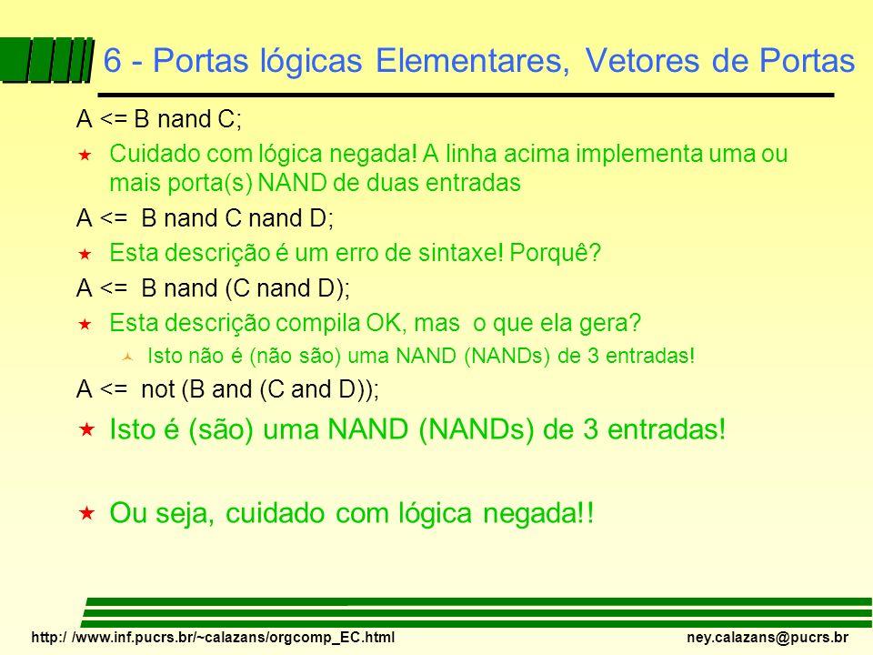http:/ /www.inf.pucrs.br/~calazans/orgcomp_EC.html ney.calazans@pucrs.br 6 - Portas lógicas Elementares, Vetores de Portas A <= B nand C; « Cuidado co