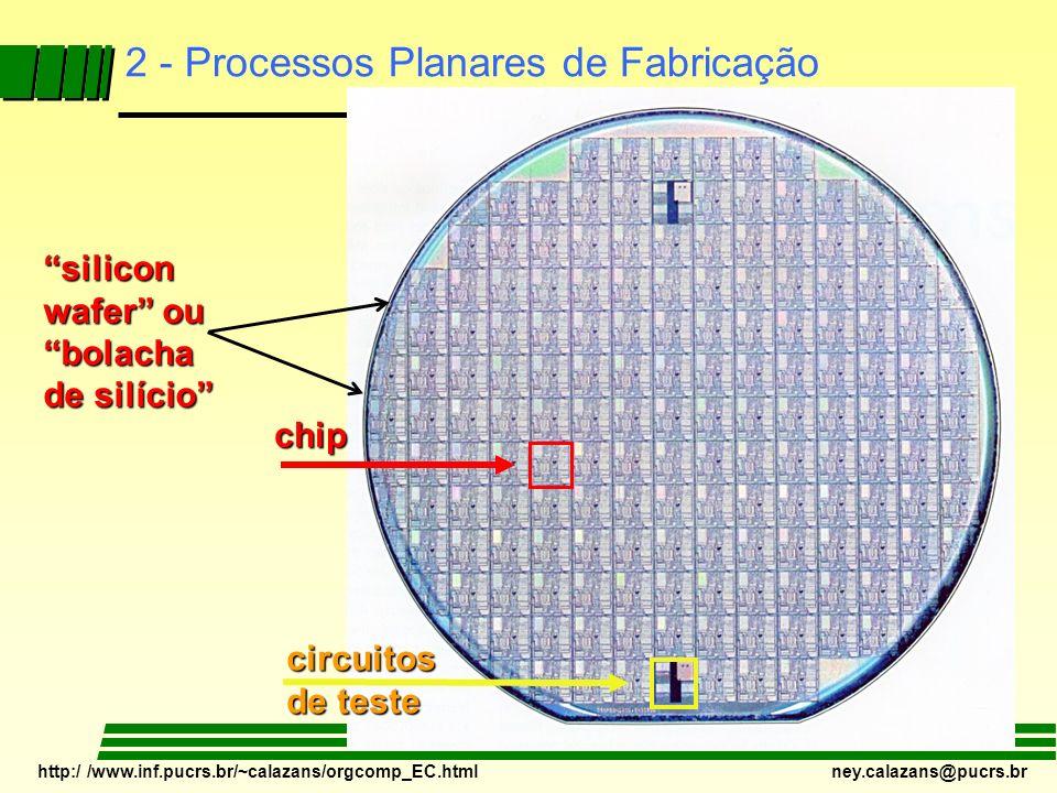 http:/ /www.inf.pucrs.br/~calazans/orgcomp_EC.html ney.calazans@pucrs.br chip circuitos de teste 2 - Processos Planares de Fabricação silicon wafer ou