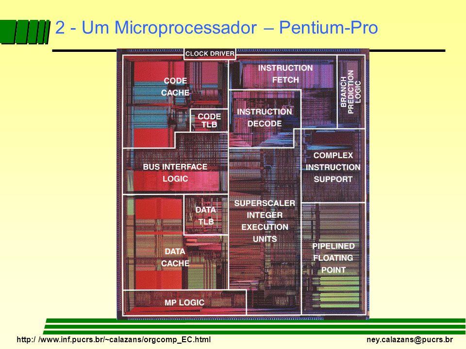 http:/ /www.inf.pucrs.br/~calazans/orgcomp_EC.html ney.calazans@pucrs.br 1 - Motivação TecnologiaCMOS 65nm Interconexões1 poly, 8 metal (Cu) Transistores100 Milhões Área do Chip275 mm 2 Área do Tijolo3 mm 2 Encapsulamento 1248 pinos, 14 camadas, 343 pinos E/S Estado da Arte em Processadores – exemplo de chip de pesquisa da Intel