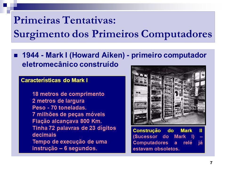 8 Primeiras Tentativas: Surgimento dos Primeiros Computadores Computadores Eletrônicos: Segunda Guerra Mundial 1939 – Ingleses aprendem a decodificar as mensagens.