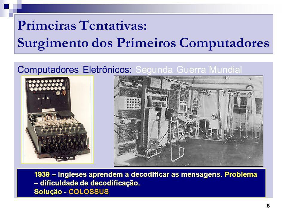 9 Primeiras Tentativas: Surgimento dos Primeiros Computadores Computadores Eletrônicos: Segunda Guerra Mundial Características: - Válvulas.