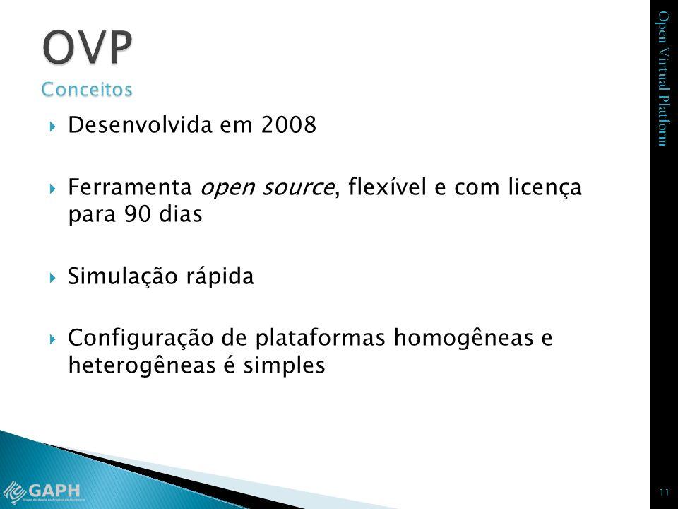 Open Virtual Platform Desenvolvida em 2008 Ferramenta open source, flexível e com licença para 90 dias Simulação rápida Configuração de plataformas ho