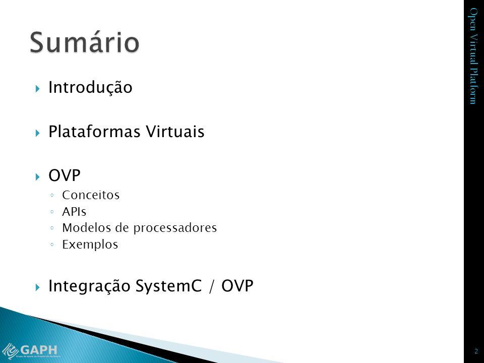 Open Virtual Platform Introdução Plataformas Virtuais OVP Conceitos APIs Modelos de processadores Exemplos Integração SystemC / OVP 2