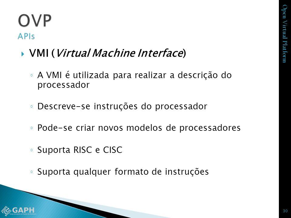 Open Virtual Platform VMI (Virtual Machine Interface) A VMI é utilizada para realizar a descrição do processador Descreve-se instruções do processador