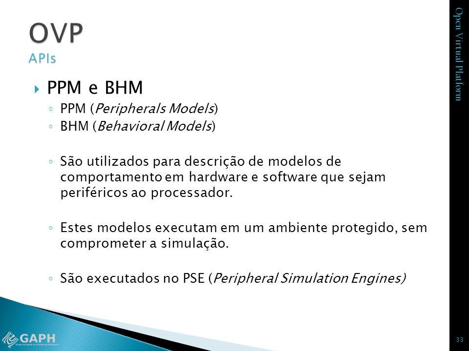 Open Virtual Platform PPM e BHM PPM (Peripherals Models) BHM (Behavioral Models) São utilizados para descrição de modelos de comportamento em hardware