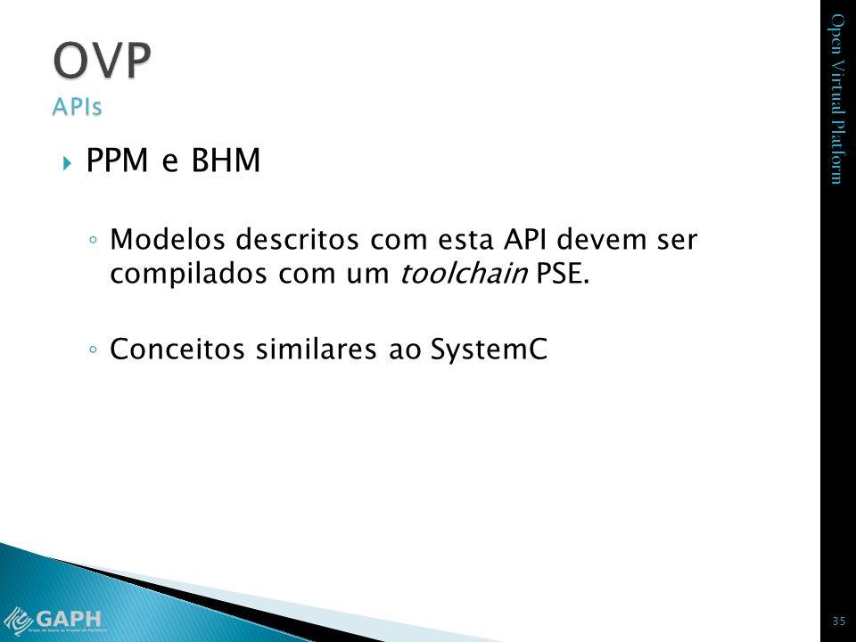 Open Virtual Platform PPM e BHM Modelos descritos com esta API devem ser compilados com um toolchain PSE. Conceitos similares ao SystemC 35