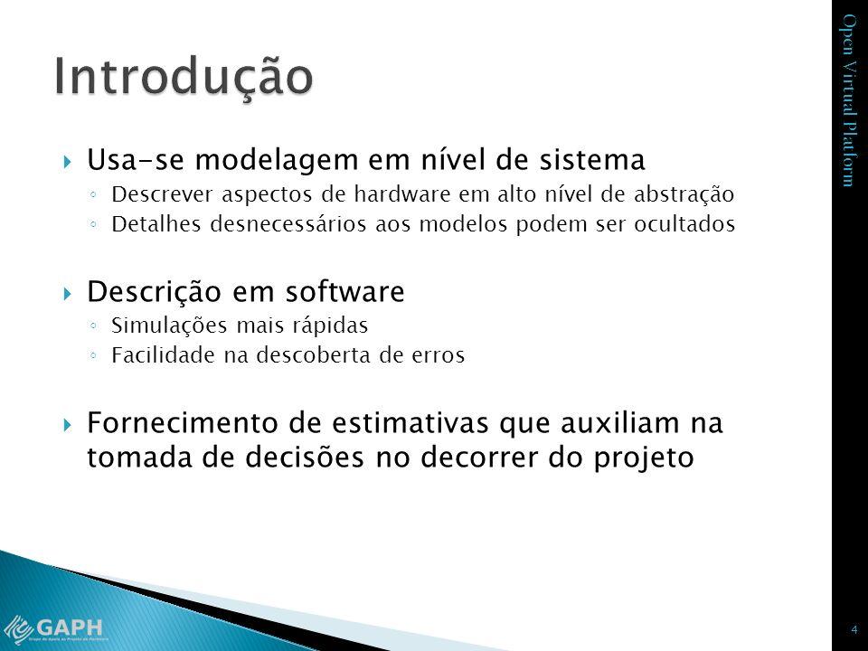 Open Virtual Platform Usa-se modelagem em nível de sistema Descrever aspectos de hardware em alto nível de abstração Detalhes desnecessários aos model