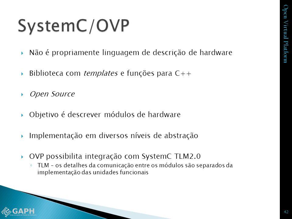 Open Virtual Platform Não é propriamente linguagem de descrição de hardware Biblioteca com templates e funções para C++ Open Source Objetivo é descrev