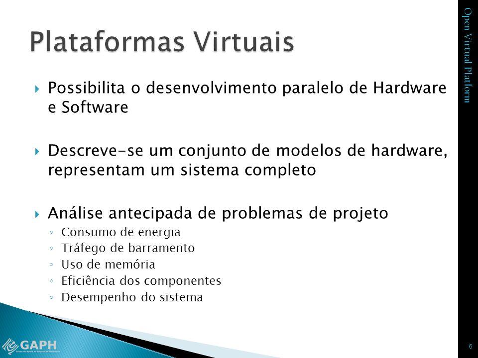 Open Virtual Platform Possibilita o desenvolvimento paralelo de Hardware e Software Descreve-se um conjunto de modelos de hardware, representam um sis