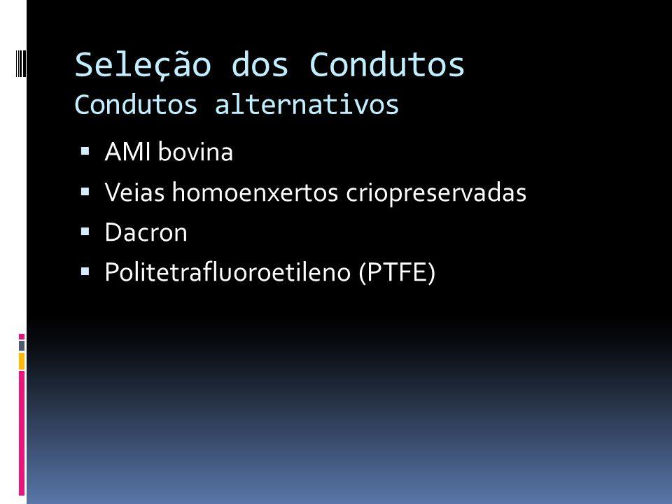 Seleção dos Condutos Condutos alternativos AMI bovina Veias homoenxertos criopreservadas Dacron Politetrafluoroetileno (PTFE)