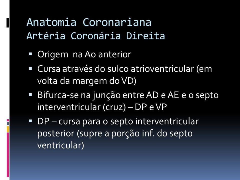 Anatomia Coronariana Artéria Coronária Direita CD – DP 90% - dominante direito Cx – DP – dominante equerdo CD e Cx – DPs – padrão balanceado Porção proximal – sítio mais comum