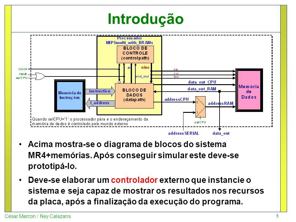 5 César Marcon / Ney Calazans Introdução Acima mostra-se o diagrama de blocos do sistema MR4+memórias. Após conseguir simular este deve-se prototipá-l