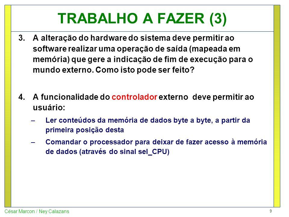 9 César Marcon / Ney Calazans TRABALHO A FAZER (3) 3.A alteração do hardware do sistema deve permitir ao software realizar uma operação de saída (mape