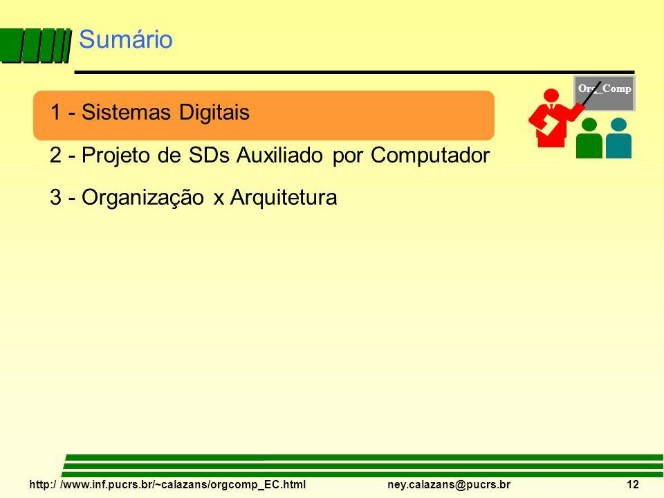 http:/ /www.inf.pucrs.br/~calazans/orgcomp_EC.html ney.calazans@pucrs.br 12 Sumário 1 - Sistemas Digitais 2 - Projeto de SDs Auxiliado por Computador