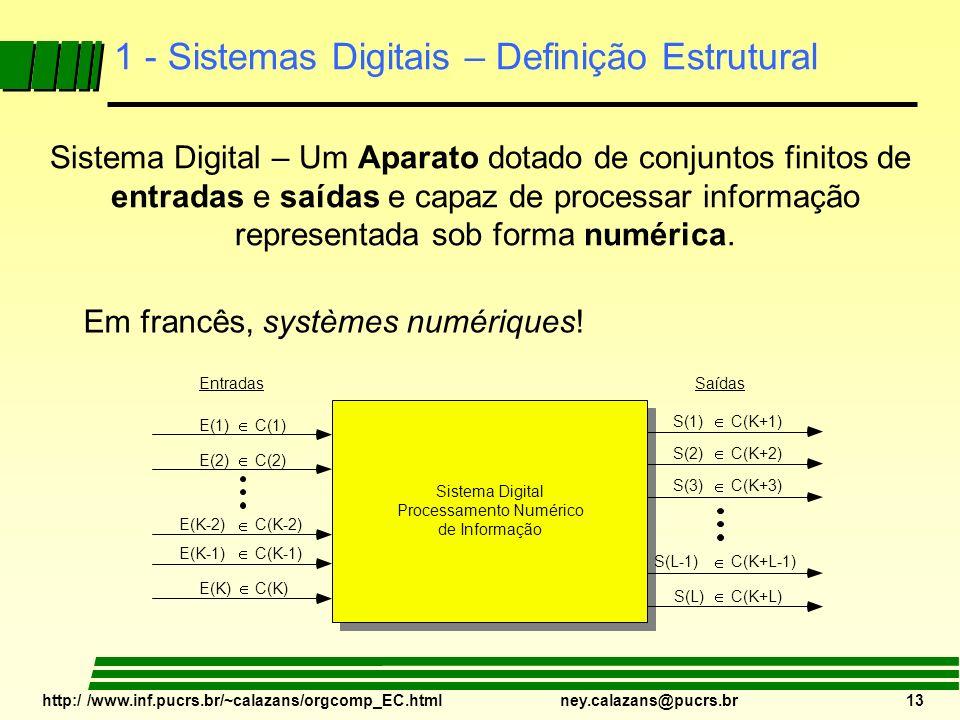 http:/ /www.inf.pucrs.br/~calazans/orgcomp_EC.html ney.calazans@pucrs.br 13 1 - Sistemas Digitais – Definição Estrutural Sistema Digital Processamento