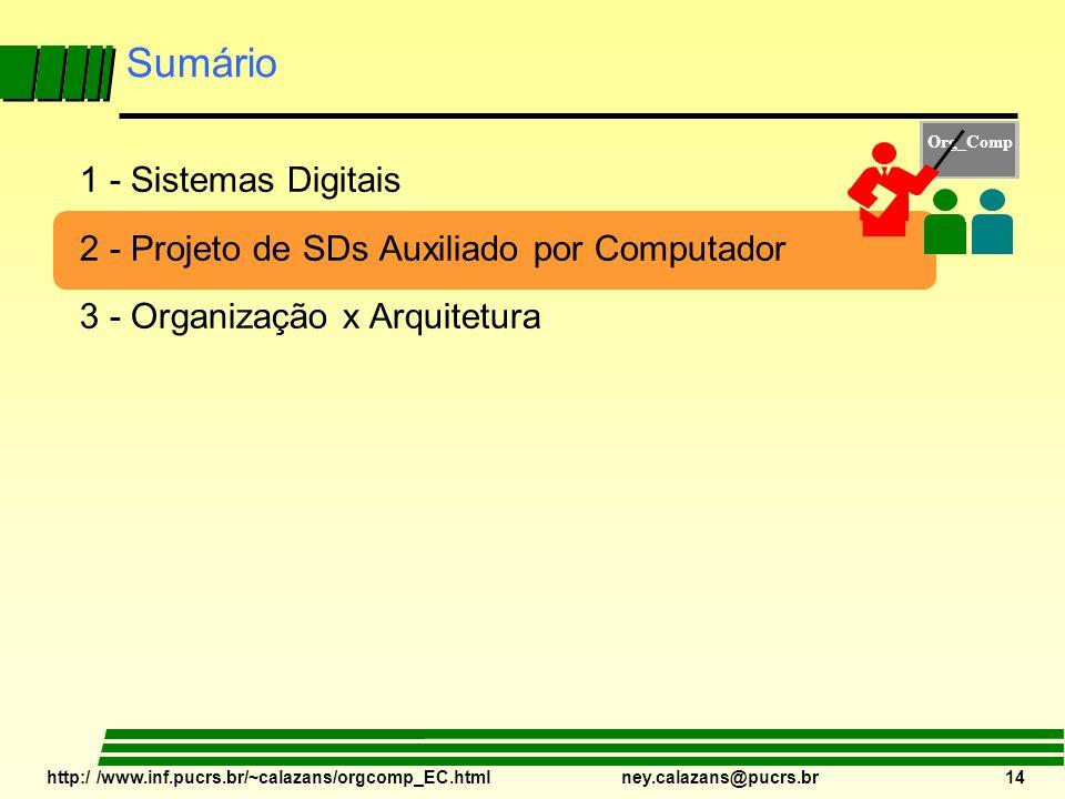 http:/ /www.inf.pucrs.br/~calazans/orgcomp_EC.html ney.calazans@pucrs.br 14 Sumário 1 - Sistemas Digitais 2 - Projeto de SDs Auxiliado por Computador