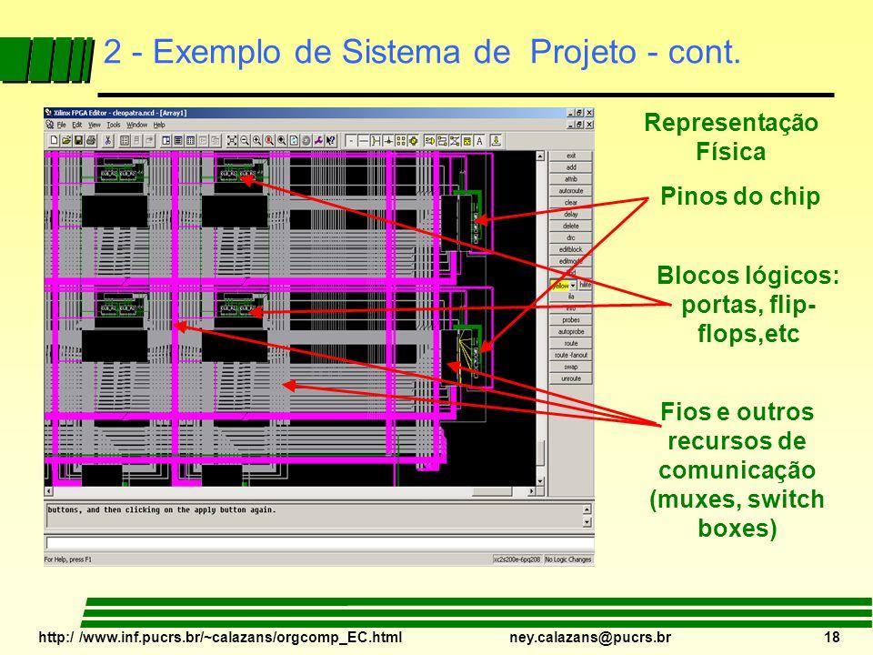 http:/ /www.inf.pucrs.br/~calazans/orgcomp_EC.html ney.calazans@pucrs.br 18 2 - Exemplo de Sistema de Projeto - cont. Representação Física Pinos do ch