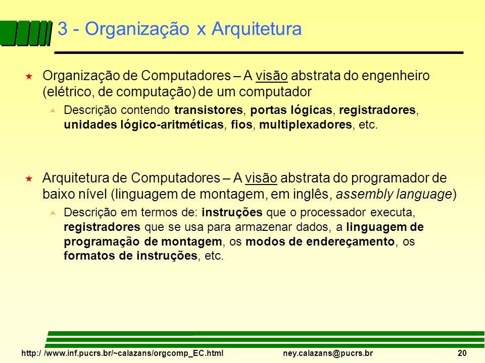 http:/ /www.inf.pucrs.br/~calazans/orgcomp_EC.html ney.calazans@pucrs.br 20 3 - Organização x Arquitetura « Organização de Computadores – A visão abst