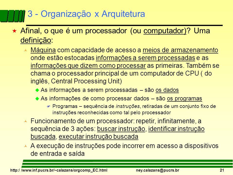 http:/ /www.inf.pucrs.br/~calazans/orgcomp_EC.html ney.calazans@pucrs.br 21 3 - Organização x Arquitetura « Afinal, o que é um processador (ou computa