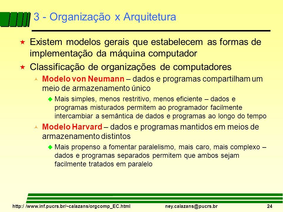 http:/ /www.inf.pucrs.br/~calazans/orgcomp_EC.html ney.calazans@pucrs.br 24 3 - Organização x Arquitetura « Existem modelos gerais que estabelecem as
