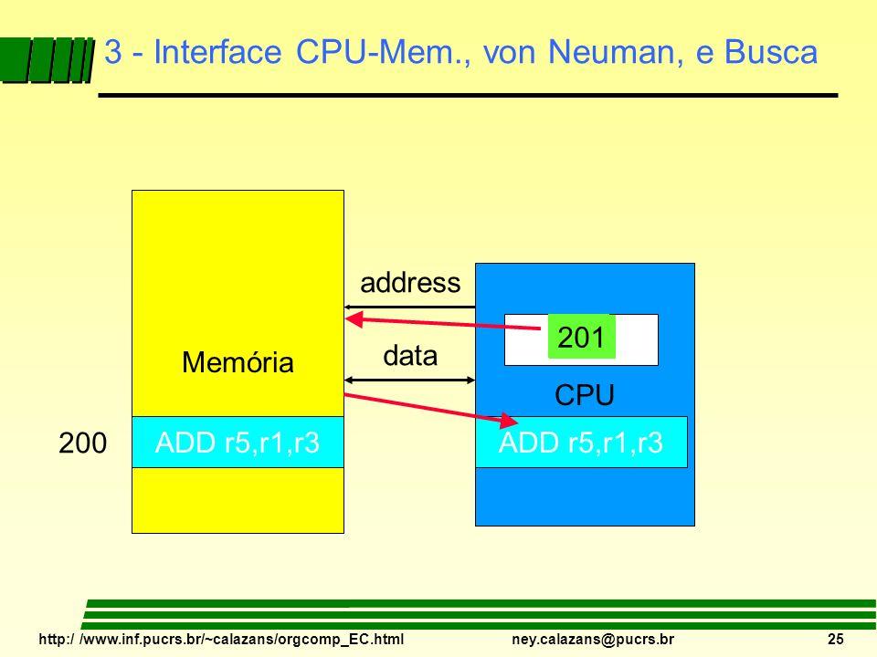 http:/ /www.inf.pucrs.br/~calazans/orgcomp_EC.html ney.calazans@pucrs.br 25 3 - Interface CPU-Mem., von Neuman, e Busca Memória CPU PC address data IR